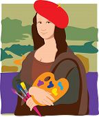 stock photo of mona lisa  - The Mona Lisa dressed as an Artist - JPG
