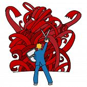 An image of a businessman using sissors and a shield to fight a red tape monster.