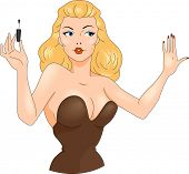 Illustration of a Pin Up Girl Drying Her Nails
