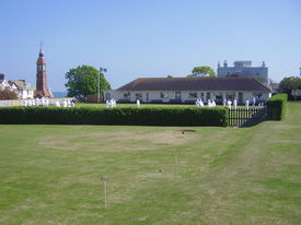 image of crown green bowls  - very english sportcrown bowling on small town green in devon  - JPG