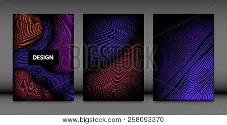 poster of Abstract Wave Shapes. Cover Design Templates Set With Vibrant Gradient And Volume Effect In Futurist