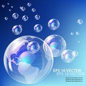 EPS10 vector realistic bubble -  earth globe against blue sky background.Earth Globe
