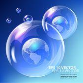 EPS10 vector realistic bubble -  earth globe against blue sky.