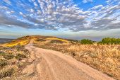 Road Through Hilly Mediterranean Landscape On The Island Of Cyprus With Ocean In Background. The Hot poster