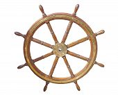 Old Boat Steering Wheel From Brass And Wood poster