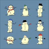 cute little vector snowmen