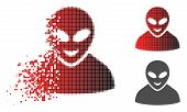 Glad Alien Person Icon In Dispersed, Dotted Halftone And Undamaged Whole Variants. Pixels Are Arrang poster