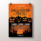 Halloween Party Flyer Vector Illustration With Scary Faced Pumpkins On Orange Background. Holiday De poster