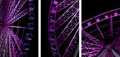 foto of triptych  - Triptych Image Of A Revolving Purple Night Ferris Wheel - JPG