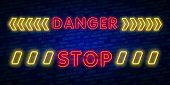 Danger Neon Text Vector. Danger Neon Sign, Design Template, Modern Trend Design, Night Neon Signboar poster
