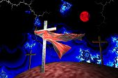 Three Crosses In Fractal Storm