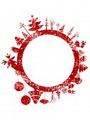 image of rudolph  - Abstract red grunge Christmas stamp with small elements like Christmas trees - JPG