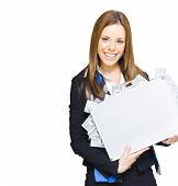 reiche successful Business Woman smiling with Geld Aktenkoffer