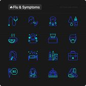 Flu And Symptoms Thin Line Icons Set: Temperature, Chills, Heat, Runny Nose, Doctor With Stethoscope poster