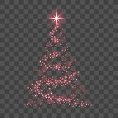 Stylized Red Christmas Tree As Symbol Of Happy New Year Holiday Or Merry Christmas Celebration. Brig poster