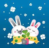 Valentine rabbit in snowy day