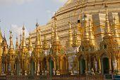 Detailed View of the Shwedagon Pagoda, Rangoon, Burma