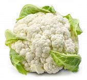 Raw Cauliflower, Whole Vegetable. Fresh Cauliflower, Isolated On White Background. poster