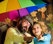 Rainy Weather Not Obstacle For Them. Couple Dating. Hipster With Beard And Cheerful Girl Expect Rain poster