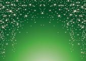 Christmas theme with stars on a green background.