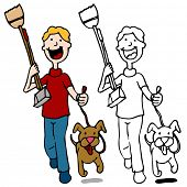 stock photo of pooper  - An image of a man walking dog holding a pooper scooper - JPG