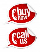 Buy now, call us stickers in form of speech bubbles.