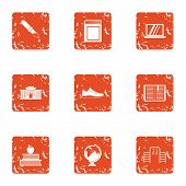 Whole School Icons Set. Grunge Set Of 9 Whole School Icons For Web Isolated On White Background poster