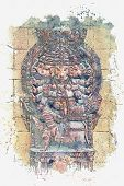 Illustration God Ganesha Is An Elephant Fulfilling Desires. Hindu Deity. Watercolor Sketch poster