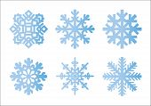 Snowflake Winter Set Of Blue Gradient Isolated Six Icon Silhouette On White Background For Christmas poster