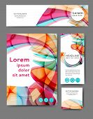 Set Of Promotional Flyers With Abstract Waves And Lines. Different Sizes poster