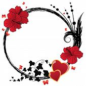 Floral Frame With Hibiscus And Hearts