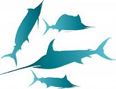 stock photo of spearfishing  - Vector illustration silhouettes of marlin spearfish sailfish and sword - JPG