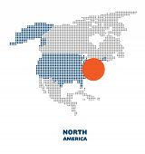 Dotted North America Map. Vector Map Of The North America With Element Of Infographic. Modern North  poster