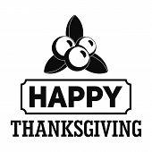 Thanksgiving Logo. Simple Illustration Of Thanksgiving Vector Logo For Web Design Isolated On White  poster