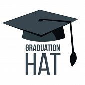 Graduation Hat Vector. Black Academic Student Cap. Education Icon. Finish Education Symbol. Isolated poster
