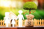 Family With Paper Cut And Money Bags Of Tree With Growing And Home In The Public Park, Saving Money  poster