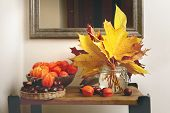 Autumn Plant Decorations In Interior. Bouquet Of Maple Leaves, Chestnuts And Chinese Lantern Plants  poster