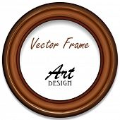 Vector Wooden Round Frame For Your Photos