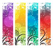 Four abstract vertical banners with swirl elements. Raster version.