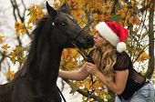 Pretty Girl Kissing A Horse