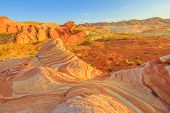 The Striped Landscape Of Popular Fire Wave Hike At Valley Of Fire State Park In Nevada, United State poster