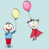 happy little boy and little girl flying with the balloon