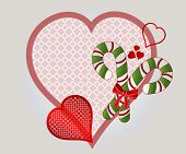 Christmas heart with candycanes