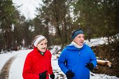 A Front View Of Senior Couple Jogging In Snowy Winter Nature. poster