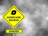 Hurricane Sign Road. Yellow Hazard Warning Sign Against Grey Sky - Tornado Warning, Bad Weather Warn poster