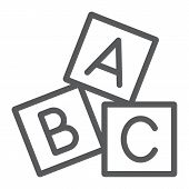 Alphabet Cubes Line Icon, Abc And Toy, Block Sign, Vector Graphics, A Linear Pattern On A White Back poster