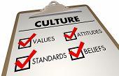 Culture Beliefs Values Languages Checklist Clipboard 3d Illustration poster