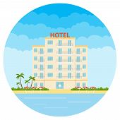Hotel, A White Hotel On The Beach. Resort Hotel. Flat Design, Vector Illustration, Vector. poster