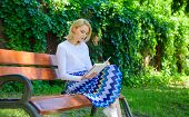 Woman Blonde Take Break Relaxing In Park Reading Book. Reading Literature As Hobby. Books Are Her Pa poster