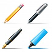 Pen icons. Pencil, pen and marker
